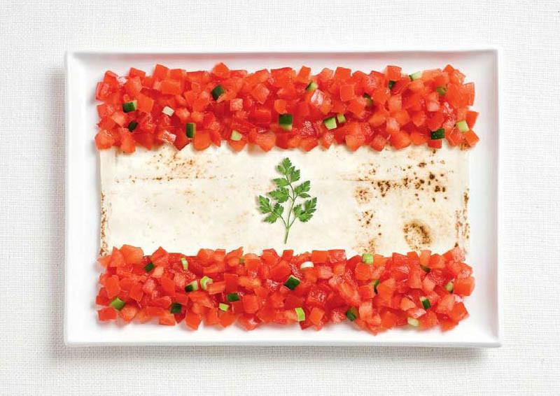 Λίβανος - Αραβική πίτα, ψιλοκομένη ντομάτα και μαιντανός